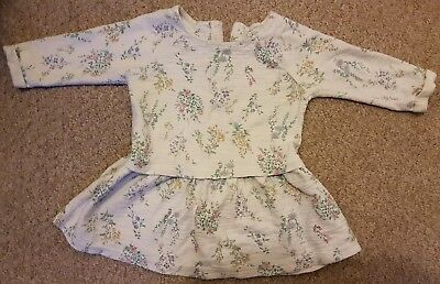 Next 12-18 months long sleeve white dress with floral design