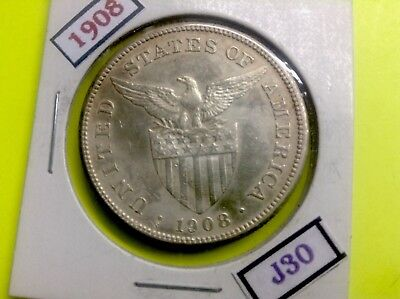 Philippines Us Coin 1908-S 1 One Peso (Silver)   J30