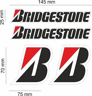 KIT 4 BRIDGESTONE STICKERS SPONSOR DECAL set race bike yamaha honda bmw