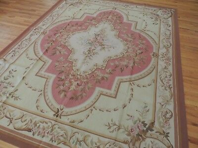 Lovely 8x10 French Aubusson Style Area Rug Beige Pink wool
