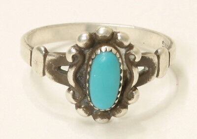 Turquoise Vintage Sterling Silver Ring Hallmarked Size 3 1112D-12