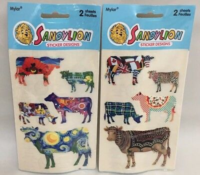Sandylion Cows Painted Murals Art Stickers Discontinued Vtg 2 New Packages