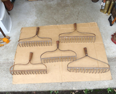 5 vintage garden rake heads/tines hand tools,antique Primitive barn farm rustic