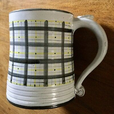 Vintage Rye Pottery Red Clay Tankard: blue/yellow pattern with white background