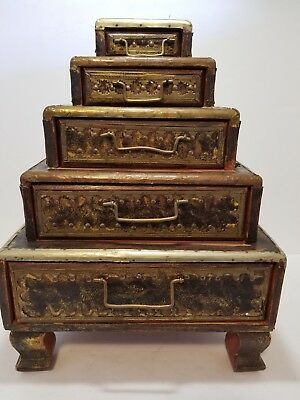 Very nice antique 5 wooden drawers. Pyramid , triangle , stacked Made in India
