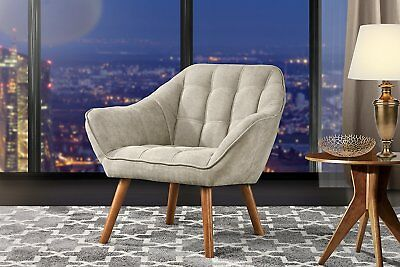 Modern Arm Chair Tufted Fabric Chair w/ Wooden Legs, Beige