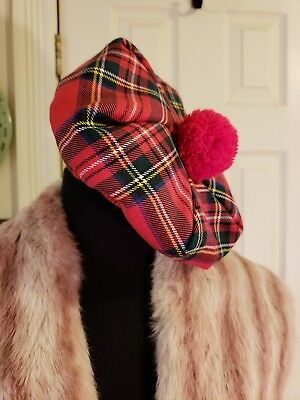 Vintage RED PLAID WOOL BERET With Red Tassel, MADE IN GREAT BRITAIN