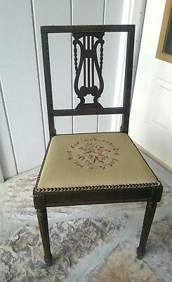Antique Harp Chair Walnut with Needle point