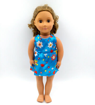 Fit For 18'' American Girl Sundress Casual Blue Flower Mini Dress Doll Clothes