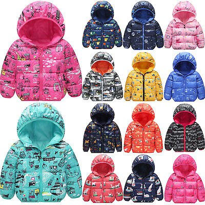 Girls Kid Padded Puffa Quilted Jacket Winter Warm Coat Hooded Thick Outwear Tops