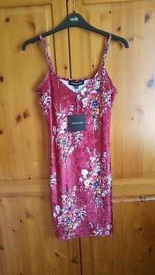 NEW w TAGS Parisian @ New Look Velvet Pink Floral V Neck Bodycon Dress Size 10
