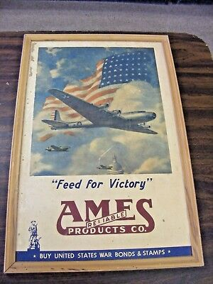 rare ames reliable products feed for victory ww2 bonds and stamps cardboard sign
