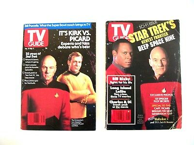 Lot of 2 Star Trek Sci-fi Issue TV Guides Kirk vs. Picard 1991 & DS9 1993 VTG
