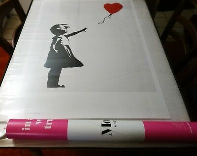 BANKSY  - Girl with Red Ballon w - Moco Museum Exhibition Poster . 84 x 54