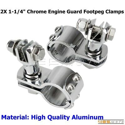 """Motorcycle 1-1/4"""" Engine Guard Footpeg Clamp Highway Bar Mount Clamps For Harley"""
