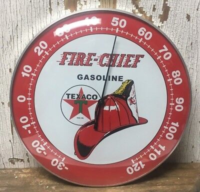 "TEXACO FIRE CHIEF ~~THERMOMETER 12"" Round SIGN, Garage Man cave, ~FREE SHIPPING!"