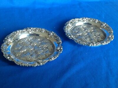 Pair Of Vintage Or Antique Heavy White Metal Coasters By EHP Of Sheffield