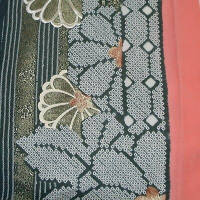 Japanese vintage kimono silk fabric Shibori Chrysanthemum and Butterflies