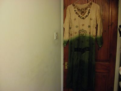 """ladies dress size 12 waist up to 38""""(99 cm)long sleeve embroidered cotton"""