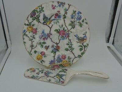 "Vintage Lorna Doone Chintz 9"" Cake Plate & Pie Server Barker Bros. Blue Birds"