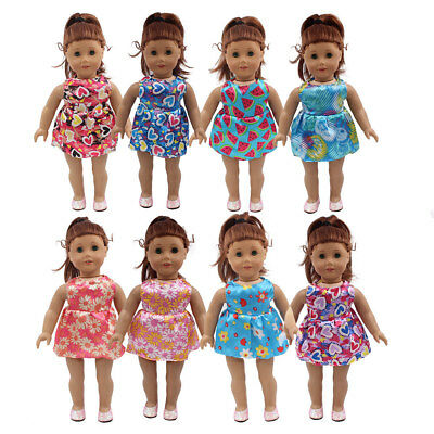 Fit For 18'' American Girl Beach Flower & Heart Summer Party Dress Doll Clothes