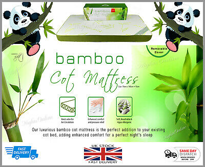 New kids toddlers Bamboo Cot Mattress with Removable Cover 70cm x 140cm +10cm