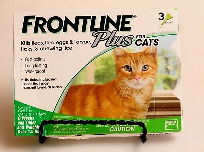 NEW Frontline Plus for Cats, 3 Doses, Over 1.5 lbs, Over 8 Weeks Old