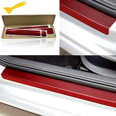 4x 3D Carbon Fiber Car Door Sill Scuff Anti-Scratch Decal Front Rear Accessories