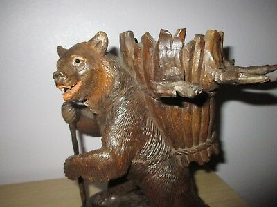 Black Forest Antique Hiking Decanter Bear Wood Carving Swiss