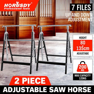 2Pc Saw Horse Height Adjustable Folding Stand Heavy Duty Trestle 200KG Capacity