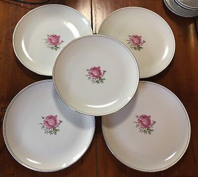 """5 Fine China Of Japan 10 1/4"""" Dinner Plates In The Imperial Rose #6702 Pattern"""