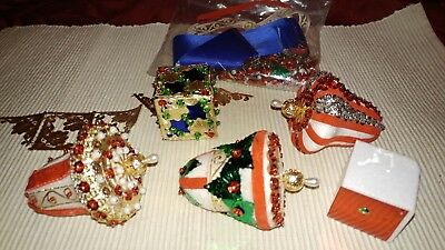 Vintage Homemade Beaded Sequin Bell Christmas Ornaments Lot Crafts