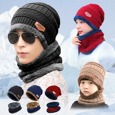 Winter Beanie Hat Scarf Set Fleece Warm Balaclava Snow Ski Cap for Kid Men Women