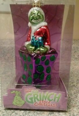 """* Grinch In Present * Dr Seuss Blown Glass New Ornament 5"""""""