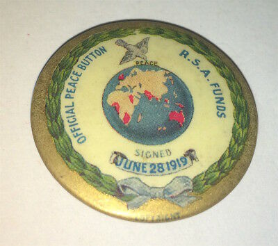 Antique World War I R.S.A. Funds Official Peace Pinback Button! Global Dove! Old