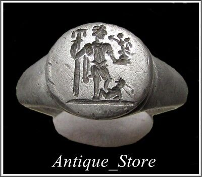 ** CONSTANTINE THE GREAT **Ancient Legionary Silver Roman Ring **AMAZING **