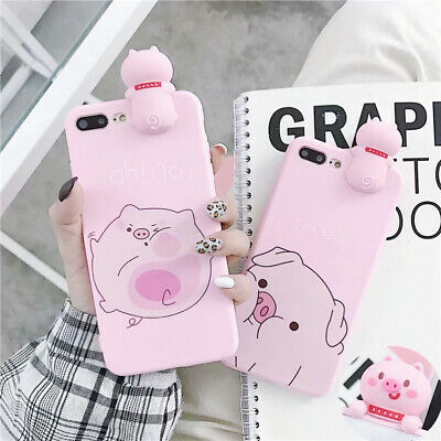 Cute Pig Soft Silicone Phone Case Cover For iPhone X XS Max XR 6 7 8 Plus
