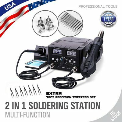 2 in 1 SMD Rework Soldering Station hot Air Gun Solder Iron DC Power Supply LED