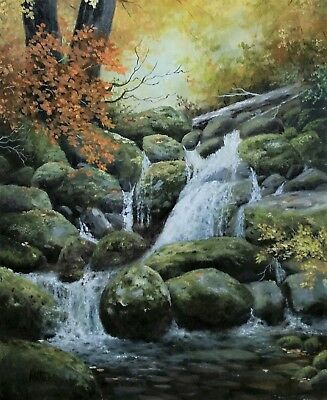 original oil painting landscape signed on canvas of mountain stream water fall.