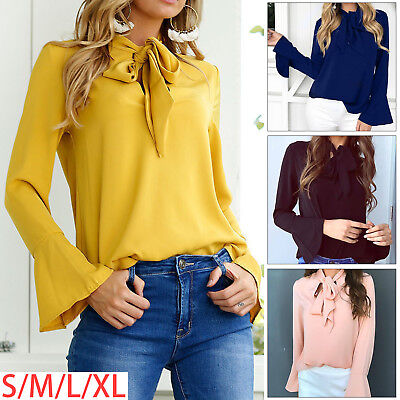 Womens Long Sleeve Casual Loose Blouse Top Ladies OL Work T-Shirts Tie Neck
