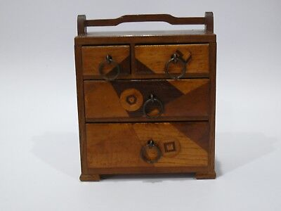 Vintage Signed Miniature Parquetry Chest Of Draws Apprentice Piece