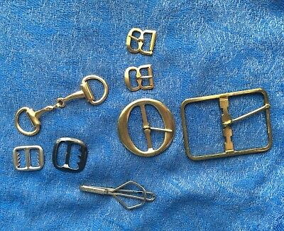 Mixed Lot of Belt & Watch Buckles & Swank Tie Clip with Horse Saddle Stirup Buck