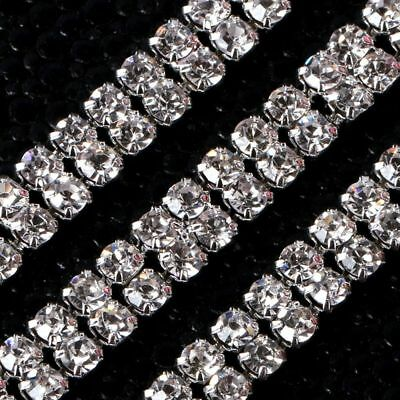 Fashion 1-row/2-row/3-row 1Yard Silver Crystal Rhinestone Close Chain Trim DIY