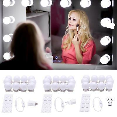 10LED Dimmable Vanity Mirror Lights Kit Bulbs for Makeup Hollywood Mirror Fine □