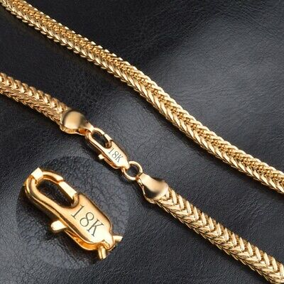 "18K Gold Plated Chain Necklace 20"" 6mm Thick Men's Women's Jewelry"