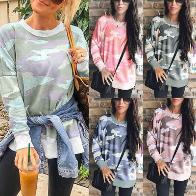 Fashion Plus Women Camouflage Casual Tops TShirt Ladies Loose Long Sleeve Blouse
