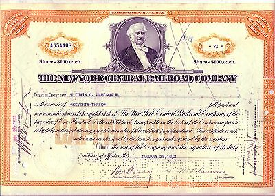 New York Central Railroad Stock Certificate 1930's Orange