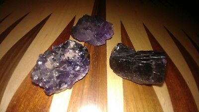 Raw purple fluorite clusters X 3 . Very Detailed 🤗 Cubes of Pure Purple Beauty