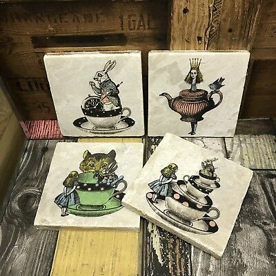 Alice in Wonderland Marble Stone Coasters shabby chic with Gold Edging