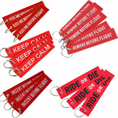 Lot of 3 Remove Before Flight Embroidery Key Chain Luggage Pack Motorcycle Tag